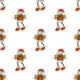 Ange de Christmass avec le modèle sans couture de biscuits d'ailes de scintillement de chapeau illustration libre de droits