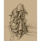Ange de cimetière illustration de vecteur