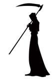 Ange de la mort avec une faux dans des ses mains sur le fond blanc illustration stock