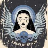 Ange de la mort Illustration colorée de vecteur de nonne aveugle avec le sang et la croix humains de crâne illustration libre de droits