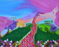 Ange de la peinture de nature sur la toile Photo stock