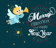 Ange de Noël avec les ailes et la trompette de halo illustration libre de droits