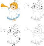 Ange de Noël avec une trompette Livre de coloriage et point pour pointiller le gam illustration stock