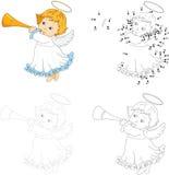 Ange de Noël avec une trompette Point pour pointiller le jeu pour des enfants illustration libre de droits