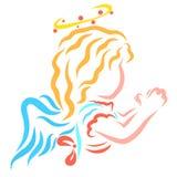 Ange de prière avec un halo illustration libre de droits
