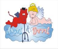 Ange et diable jouant ensemble sur le nuage Photo libre de droits
