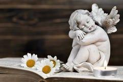 Ange et fleurs blanches Photo libre de droits