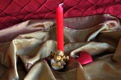 Ange et ornements rouges de Noël de coeur Image stock