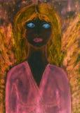 Ange féminin noir avec la robe et les ailes roses photographie stock