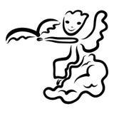 Ange gai se reposant sur un nuage et un oiseau au-dessus de sa main illustration libre de droits