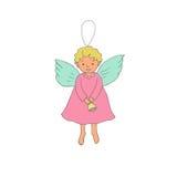 Ange mignon de Noël avec la cloche dans le style de bande dessinée Photos libres de droits