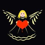 Ange mignon gai avec un coeur dans des ses mains, fond noir illustration stock