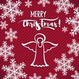Ange rouge de Noël de carte de voeux image libre de droits