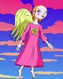Ange se tenant dans une robe rose contre le contexte du clou rose Photos stock