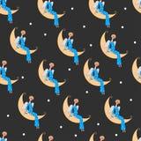 Ange sur la lune illustration de vecteur