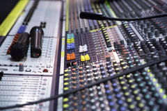 View on sound mixer with regulation buttons Royalty Free Stock Image