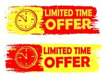 Angebot der begrenzten Zeit mit den Uhrzeichen-, Gelben und Rotengezeichneten Aufklebern Stockfoto