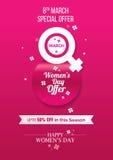 Angebot-Schablone der Frauen Tages Lizenzfreies Stockbild