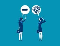 Angebotanleitung der Geschäftsfrau zum Kollegen verwirrt lizenzfreie abbildung