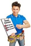 Angebotgarantie des Handwerkers auf Deutsch Stockbild
