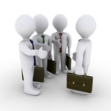 Angebothändedruck mit drei Geschäftsmännern Stockbilder