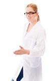 Angebothand des weiblichen Wissenschaftlers für Händedruck Stockfotos