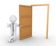 Angebotweise des Geschäftsmannes durch Tür Lizenzfreies Stockbild