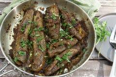 Angefüllte Aubergine oder Bharwa Baigon, ein indischer vegetarischer Zutritt lizenzfreies stockbild
