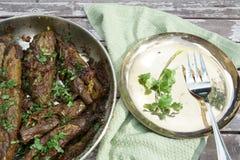 Angefüllte Aubergine oder Bharwa Baigon, ein indischer vegetarischer Zutritt lizenzfreie stockbilder