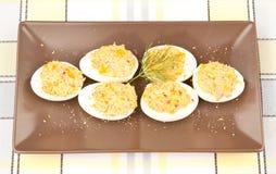 Angefüllte Eier Stockfoto