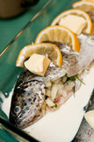 Angefüllte Forelle mit Zitronenteller Stockfotos