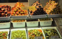 Angefüllte Olive Stall Stockfoto