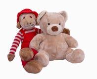 Angefüllter Teddy Bear- und Affe-Freund Stockbilder