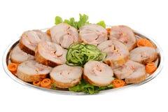 Angefülltes Rollenschweinefleisch Verziertes versorgendes Lebensmittel Stockfotos