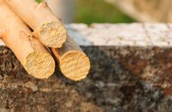 Angehäufte Baumstämme auf konkretem Hintergrund stockfoto