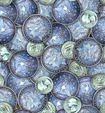 Angehäuftes Münzenmuster stockfotos