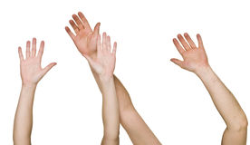 Angehobene Hände Stockfotografie