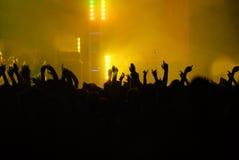 Angehobene Hände an einem Konzert Stockfotografie