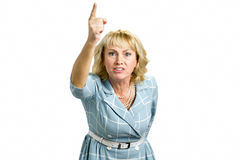 Angehobene Hand Frustrarted Frau oben Stockbild