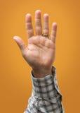 Angehobene männliche Hand lokalisiert auf gelbes Goldorangen-kariertem Hemd Lizenzfreie Stockfotos