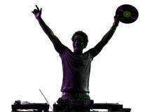 Angehobenes Schattenbild der Freude des Diskjockeymannes glückliche Arme Stockbild