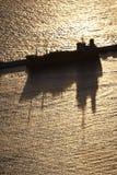 Angekoppeltes Containerschiff Stockfotografie