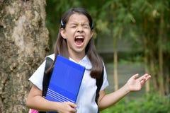 Angelägen School Girl Wearing för kvinnlig student likformig med böcker arkivfoton
