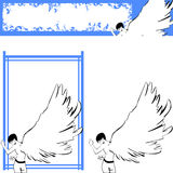 Angel 1. A boy with angel wings and some simple decoration and banner frame Stock Photos