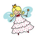 Angel. Little fairy  hand drawn vector illustration isolated over white background Royalty Free Stock Photos