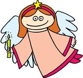 Angel. Flying little angel with candle on white background.  image Stock Images