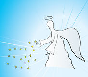 Angel. Vector illustration of blessing angel with stars Royalty Free Stock Photography