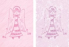 Angel. With hearts,pink and white royalty free illustration