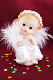 Angel. White angel in the guise of child against the dark background Royalty Free Stock Photo