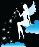Angel. Silhouette on the blue cloud Stock Images